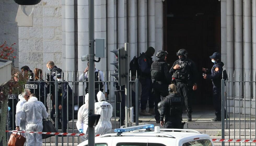 Angrepet skjedde i Notre-Dame-kirken som ligger i Avenue Jean-Medicin, hovedgaten i Nice (Foto: Valery Hache / AFP(NTB)