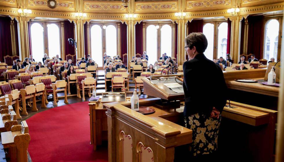 Stortingspresident Tone Wilhelmsen Trøen (H) varsler innstramming i koronatiltakene på Stortinget. Foto: Vidar Ruud / NTB