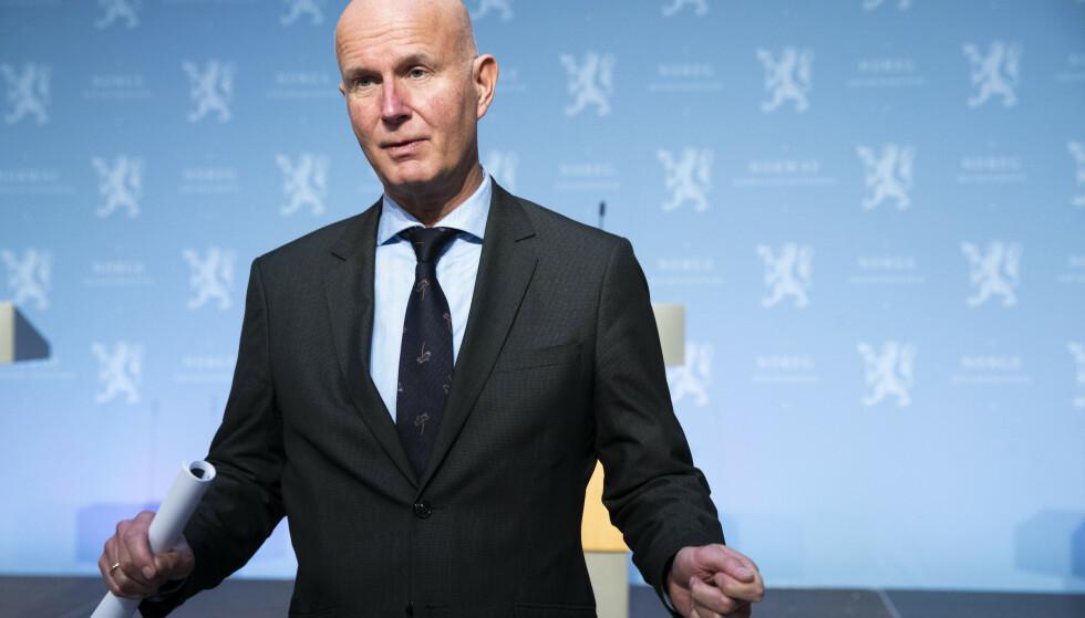 Helsedirektør Bjørn Guldvog på en tidligere pressekonferanse om koronavirus-situasjonen. Arkivfoto: Terje Pedersen / NTB