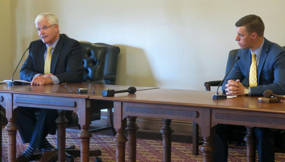 De to republikanske delstatslederne som sammen med fem andre ble invitert til et møte i Det hvite hus, flertallsleder i Michigans senat, Mike Shirkey, og speaker i delstatens Representantenes hus, Lee Chatfield. Foto: David Eggert / AP / NTB
