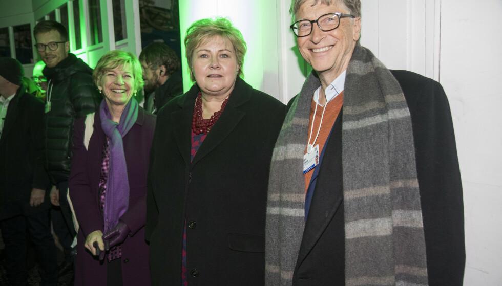Statsminister Erna Solberg og Bill Gates under World Economic Forum i 2018. Foto: Heiko Junge / NTB