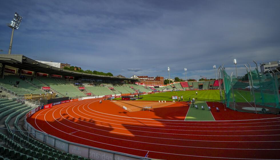 Oslo 20200611.  Bislett Stadion i sollys før Impossible Games 2020 på Bislett Foto: Heiko Junge / NTB
