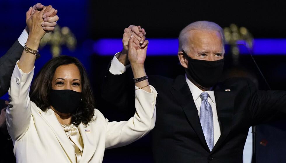 USAs påtroppende president Joe Biden og påtroppende visepresident Kamala Harris er av magasinet Time kåret til årets person. Foto: Andrew Harnik / AP / NTB