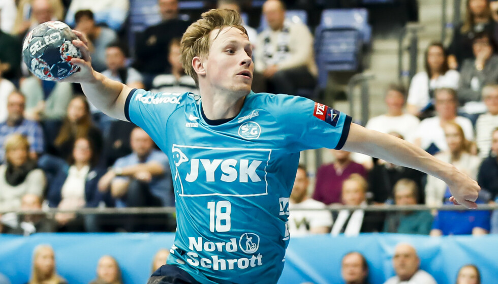 Magnus Jøndal i aksjon for Flensburg-Handewitt forrige sesong. Foto: Geir Olsen / NTB.