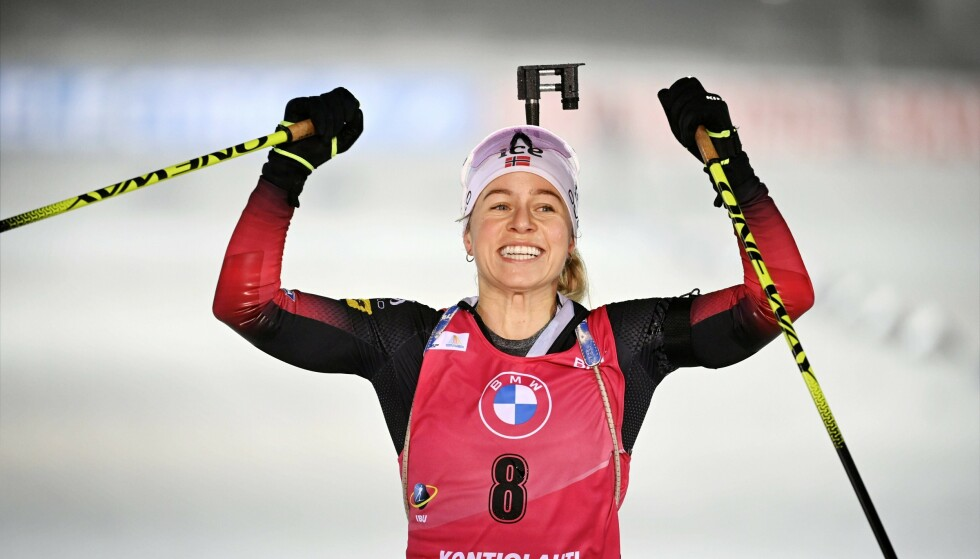 Tiril Eckhoff of Norway celebrating the victory in the women's 10km pursuit competition of the IBU World Cup Biathlon event in Kontiolahti, Finland, on Sunday Dec. 6, 2020. (Antti Aimo-Koivisto / Lehtikuva via AP)