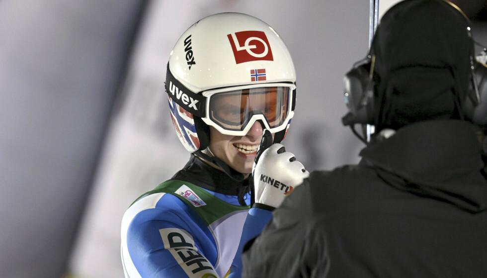 Halvor Egner Granerud tok sin fjerde strake verdenscupseier da han vant i Engelberg lørdag. Her fra Ruka tidligere i år. Foto: Emmi Korhonen / Lehtikuva / NTB