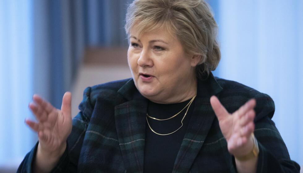Statsminister Erna Solberg (H) er sterkt kritisk til president Donald Trumps opptreden etter valgnederlaget. Foto: Berit Roald / NTB