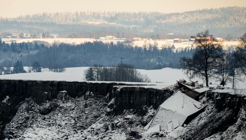 Flere boliger ble tatt av skredet som løsnet på Ask i Gjerdrum tidlig lille nyttårsaften. Foto: Berit Roald / NTB