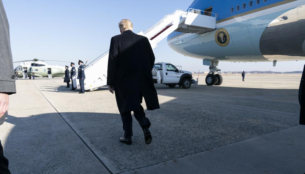 Donald Trump ønsker å forlate Washington i presidentens fly. Foto: Alex Brandon/AP/NTB