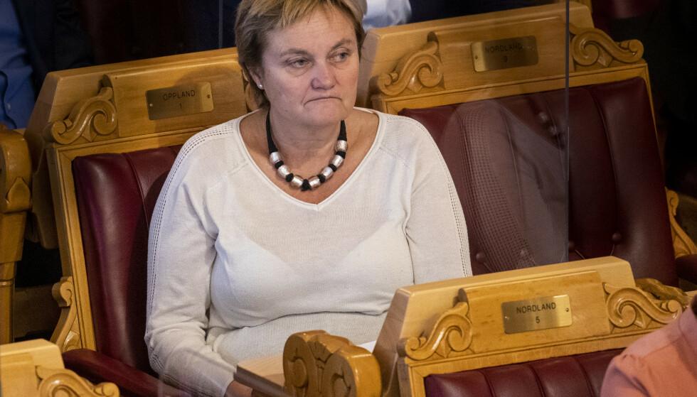 Rigmor Aasrud (Ap), her fra en spørretime i Stortinget i fjor. Foto: Terje Pedersen/NTB