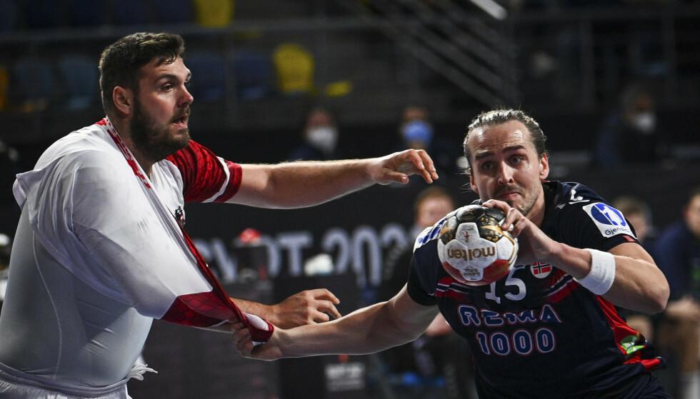Kent Robin Tønnesen spilte en sterk 1.-omgang mot Østerrike i håndball-VM. Foto: Anne-Christine Poujoulat / Pool / AFP / NTB
