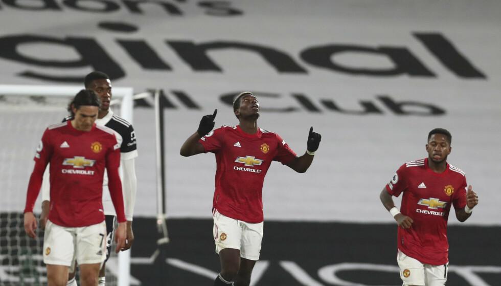 Paul Pogba avgjorde til 2-1 mot Fulham og sendte Manchester United tilbake til tabelltoppen. Foto: Clive Rose/AP/NTB
