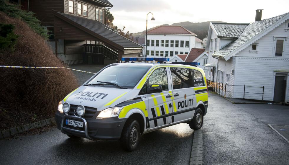 Politiet ved åstedet på Ålgård. Foto: Carina Johansen / NTB