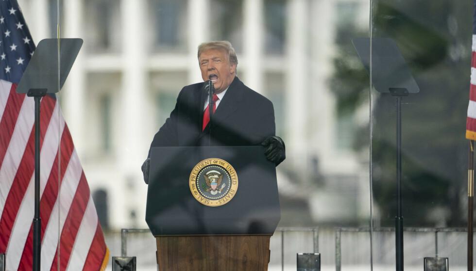 Facebook utestengte Donald Trump på ubestemt tid etter talen han holdt til tilhengere i Washington 6. januar. Foto: AP / NTB