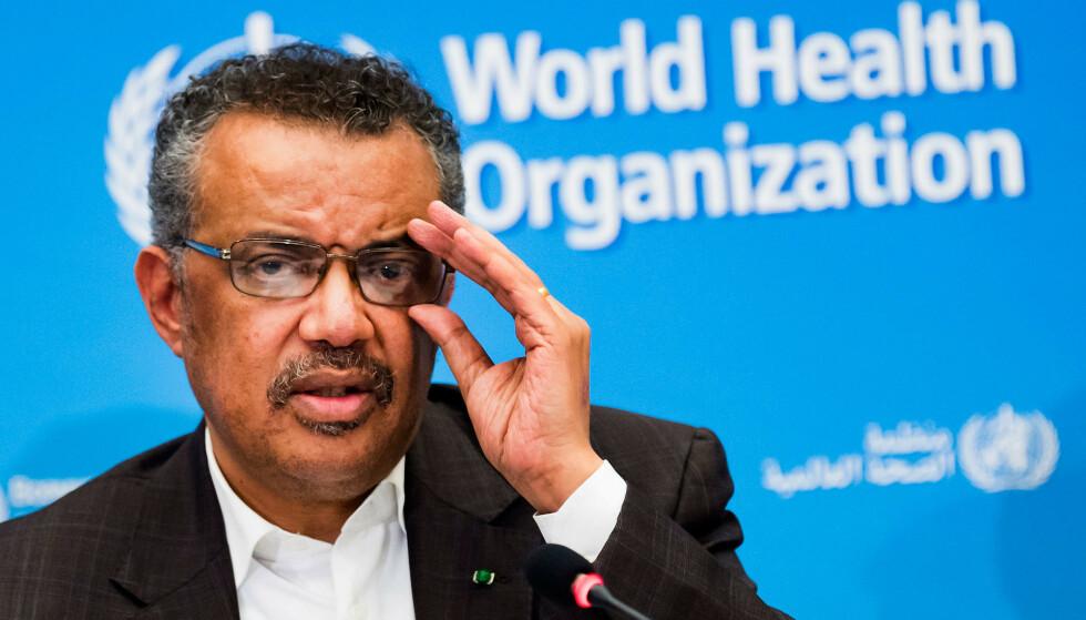 WHO-direktør Tedros Adhanom Ghebreyesus har omtalt vaksinefordelingen globalt som en moralsk katastrofe. Arkivfoto: Jean-Christophe Bott / Keystone / AP / NTB