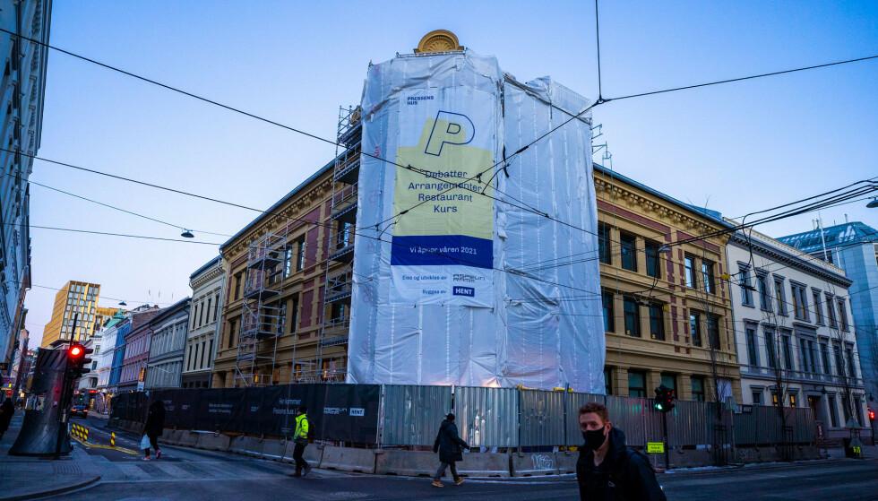 Pressens hus er under oppføring i Skippergata i sentrum av Oslo. Foto: Håkon Mosvold Larsen / NTB