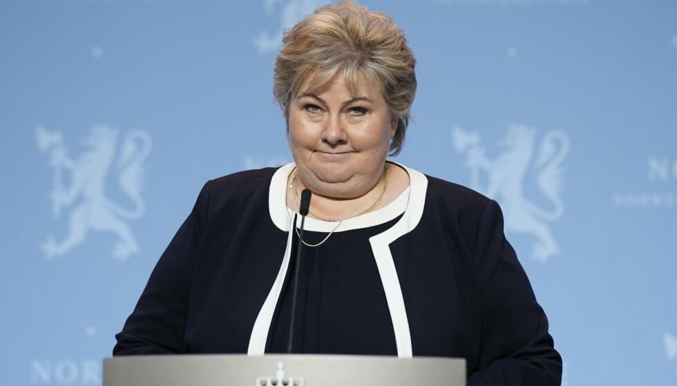 Statsminister Erna Solberg la fram tre mulige scenarioer for utviklingen av koronapandemien det neste året. Foto: Stian Lysberg Solum / NTB