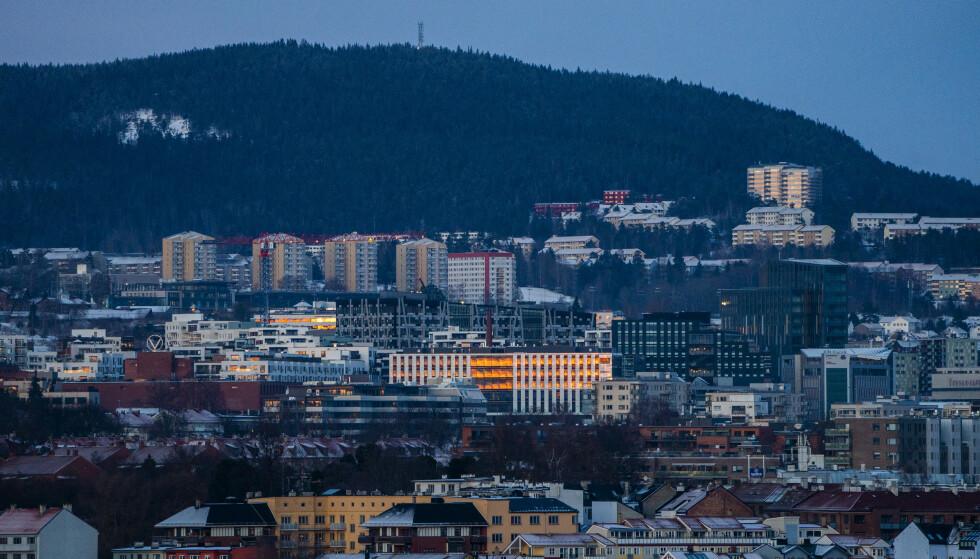 Oslo 20210125.  Bebyggelse i Oslo sentrum og østover mot Økern. Foto: Håkon Mosvold Larsen / NTB