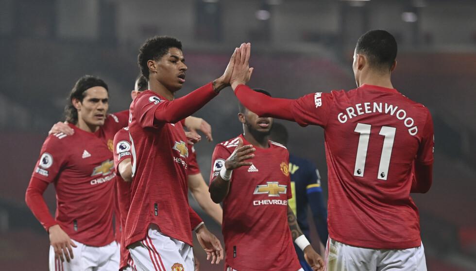 Manchester United lagde målfest mot Southampton, som måtte spille nesten hele kampen i undertall og avslutte med bare ni mann på banen. Foto: Laurence Griffiths, Pool via AP/NTB