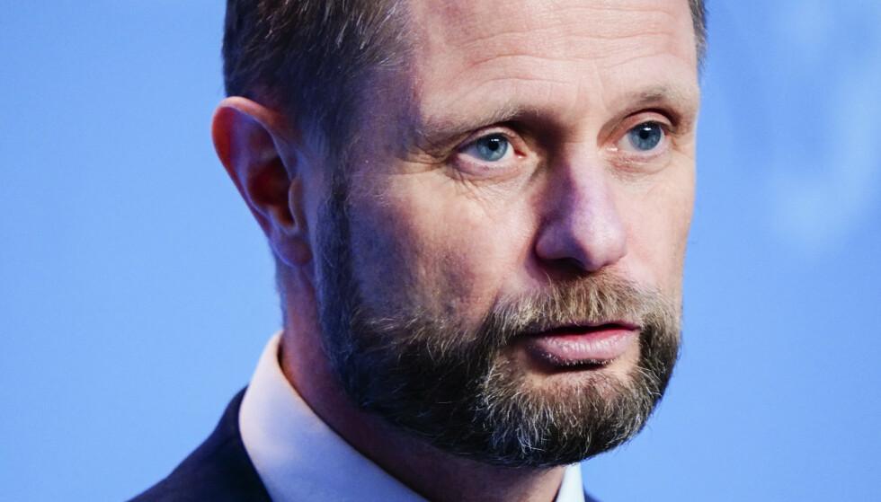 Helse- og omsorgsminister Bent Høie (H) på regjeringens pressekonferanse om koronasituasjonen. Foto: Lise Åserud / NTB