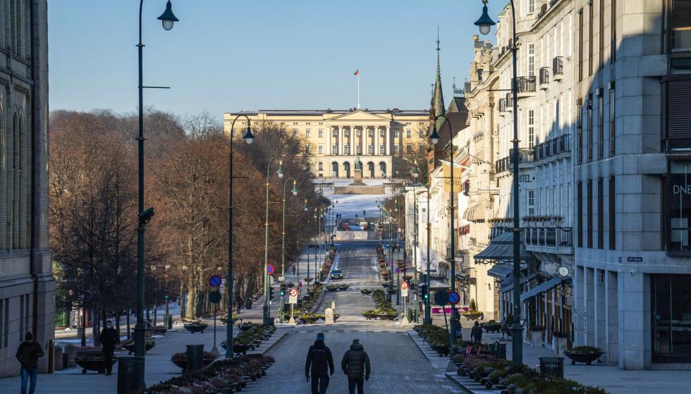 Stille i gatene i Oslo en lørdag formiddag i januar. Foto: Håkon Mosvold Larsen / NTB