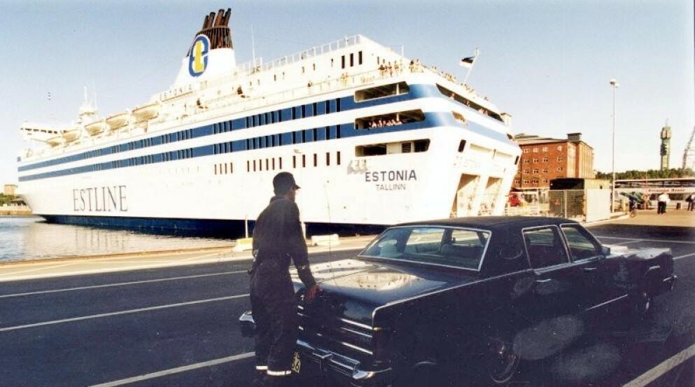 Estonia til kai i Stockholm. Passasjerfergen sank i Østersjøen i 1994. Foto: NTB