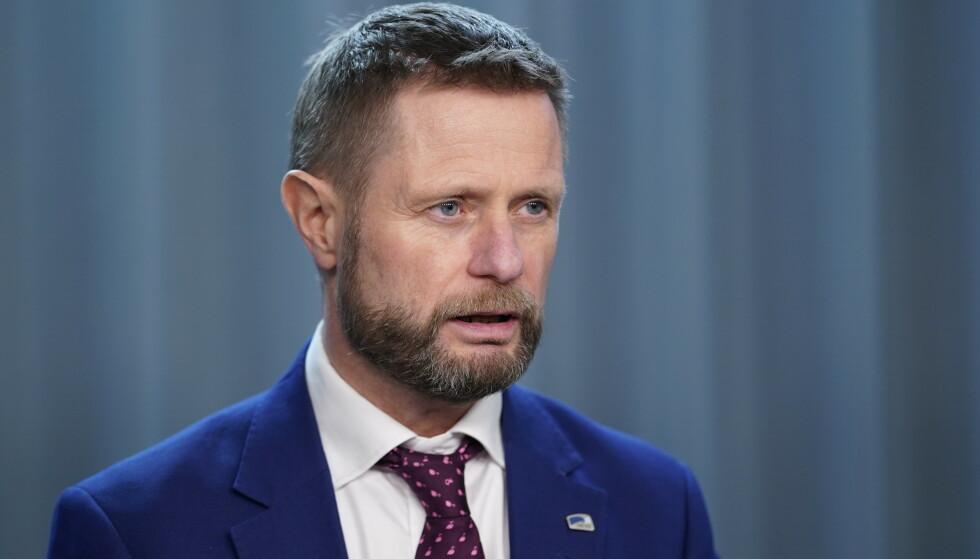 Helse- og omsorgsminister Bent Høie (H) presiserer om koronatiltakene. Foto: Fredrik Hagen / NTB