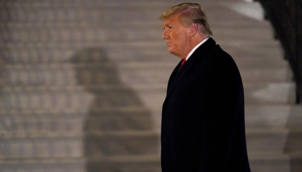 Daværende president Donald Trump utenfor Det hvite hus 12. januar, en uke etter at Trump-tilhengere stormet Kongressen. Foto: Gerald Herbert / AP / NTB