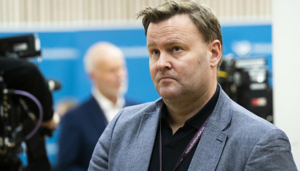 Assisterende helsedirektør Espen Rostrup Nakstad under pressekonferanse hos Helsedirektoratet i forbindelse med at den britiske virusvarianten er påvist i Nordre Follo. Foto: Berit Roald / NTB