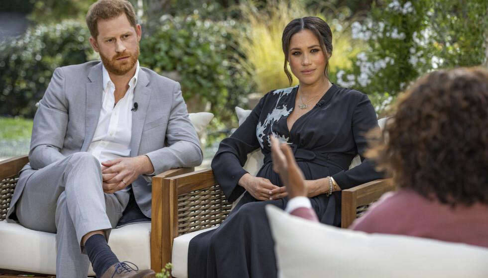 Meghan beskylder det britiske kongehuset for å spre løgner om henne i det kommende TV-intervjuet hun og prins Harry har gjort med Oprah Winfrey. Foto: Joe Pugliese/Harpo Productions via AP / NTB