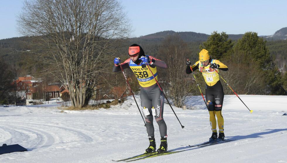 Marit Bjørgen og Lina Korsgren kjempet om seieren i Vasaloppet, men sistnevnte ble til slutt for sterk. Foto: Ulf Palm/TT/NTB