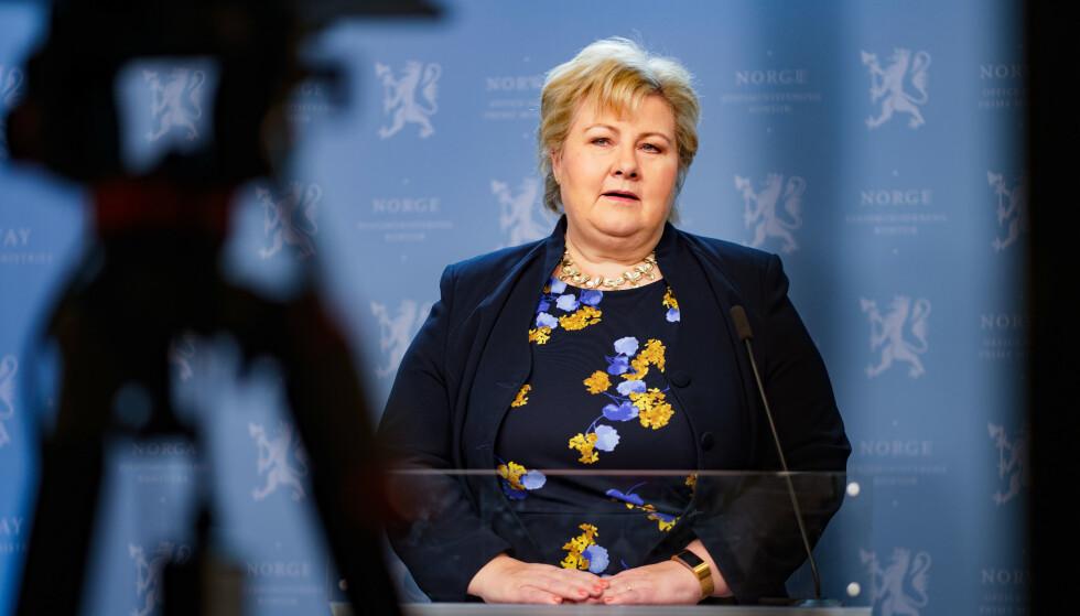 Statsminister Erna Solberg holder tale om koronapandemien, i forbindelse med at det snart er ett år siden Norge iverksatte de første inngripende tiltakene mot viruset. Foto: Heiko Junge / NTB