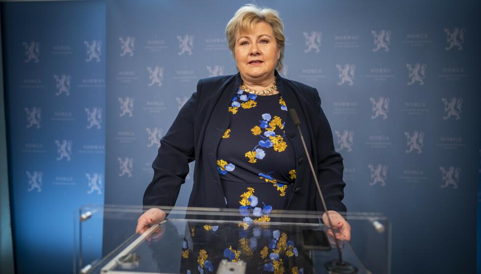 Statsminister Erna Solberg sier at coronapandemien har vart lengre enn hun håpte og trodde. Foto: Heiko Junge / NTB