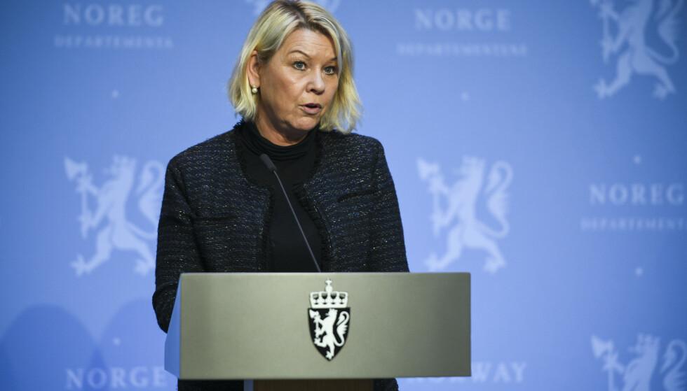 Justis- og beredskapsminister Monica Mæland (H) åpner for å bruke sikkerhetsloven for å stanse salget av Bergen Engines til russiske interesser. Foto: Martin Solhaug Standal / NTB