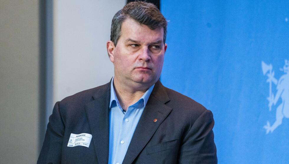 LO-leder Hans-Christian Gabrielsen døde tirsdag, 53 år gammel. Her deltar han på en pressekonferanse i Marmorhallen fredag. Arkivfoto: Håkon Mosvold Larsen / NTB
