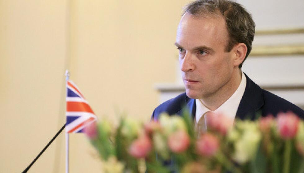Storbritannias utenriksminister Dominic Raab besøkte torsdag Norge og utenriksminister Ine Eriksen Søreide. Foto: Torstein Bøe / NTB