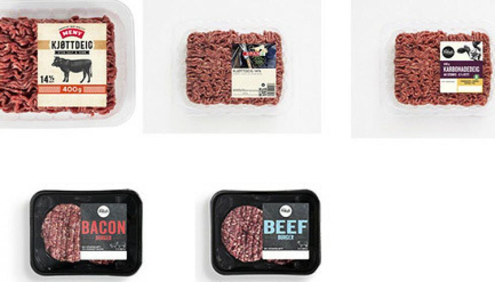 Norgesgruppen tilbakekaller enkelte holdbarheter av karbonadedeig, kjøttdeig og burgere merket med Folkets, Meny, Spar og Kiwi, etter funn av salmonella. Alle produktene er utgått på dato, men forbruker kan likevel ha disse i fryseren. Foto: Norgesgruppen / NTB to add image caption