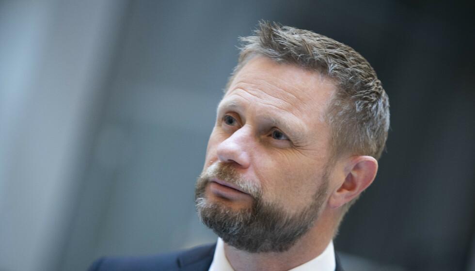 Helse- og omsorgsminister Bent Høie under pressekonferanse om koronasituasjonen i forbindelse med påskeferie. Foto: Berit Roald / NTB
