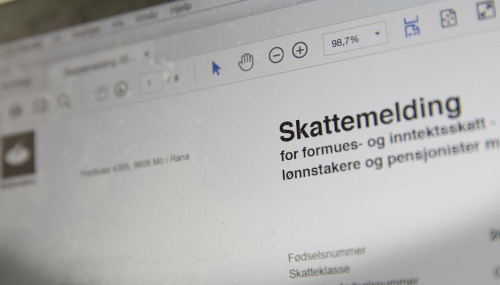 Skattemelding er allerede ledig nå, på tirsdag, for noen elektroniske brukere. Arkivfoto: Terje Bendiksby / NTB
