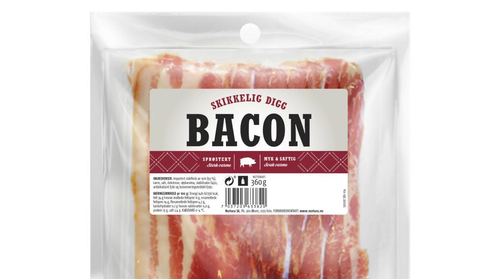 Nortura tilbakekaller enkelte partier av baconet med navn «Skikkelig digg bacon» etter funn av salmonella. Foto: Nortura / NTB