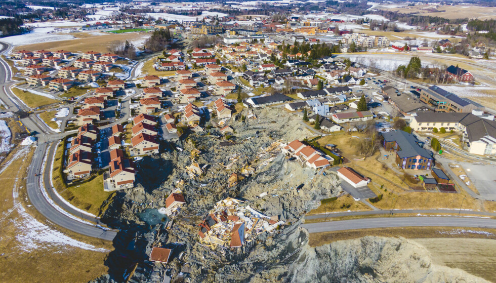 Skredet gikk 30. desember på Ask i Gjerdrum kommune. Ti personer omkom. Foto: Stian Lysberg Solum / NTB