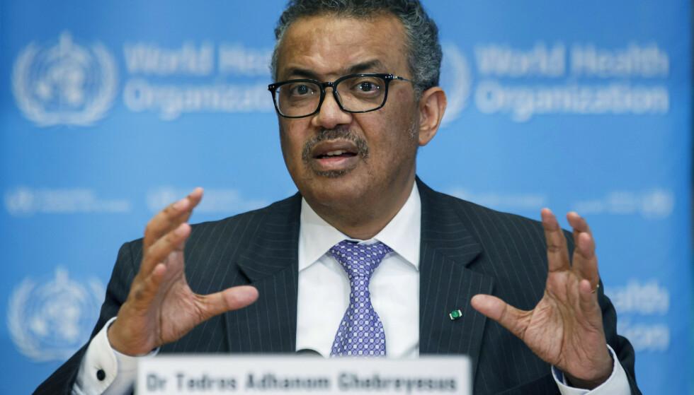 WHOs generaldirektør Tedros Adhanom Ghebreyesus. (Foto: AP/NTB)