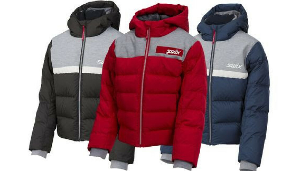 Focus down jacket jr. med produktnummer 13162 i fargene rød, blå og sort i størrelsene 116, 128, 140, 152 og 164 trekkes tilbake. Foto: Swix / NTB