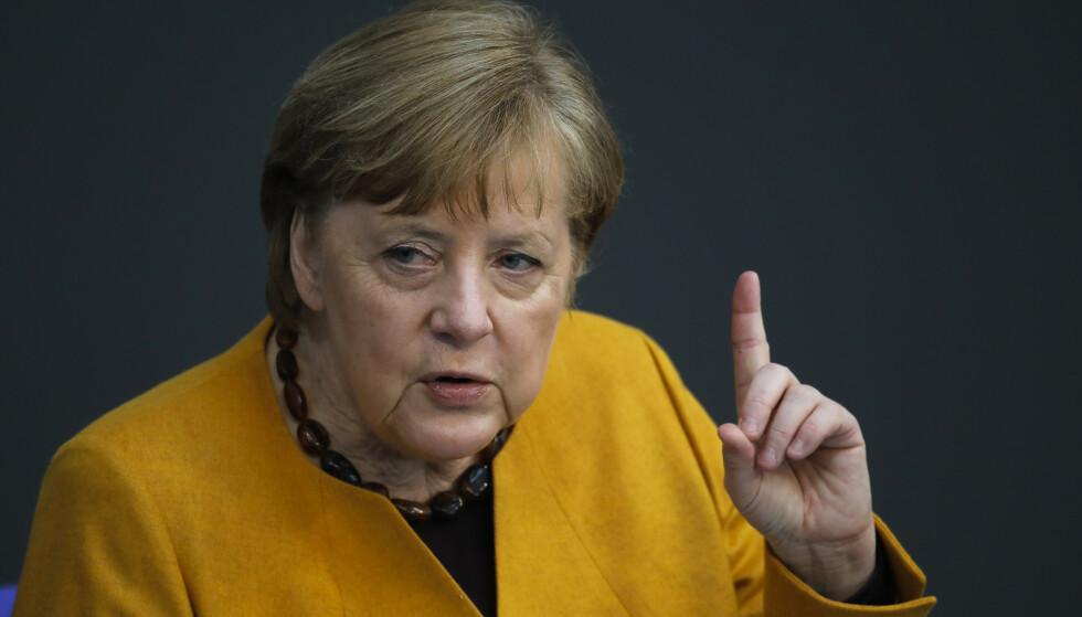 Tysklands regjeringssjef Angela Merkel innrømmet onsdag at det var en feiltakelse å gå inn for full nedstenging gjennom påsken. Foto: Markus Schreiber / AP / NTB