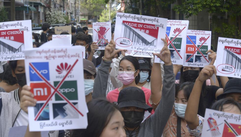 Det har vært store demonstrasjoner i Myanmar siden militærkuppet 1. februar. Foto: AP / NTB