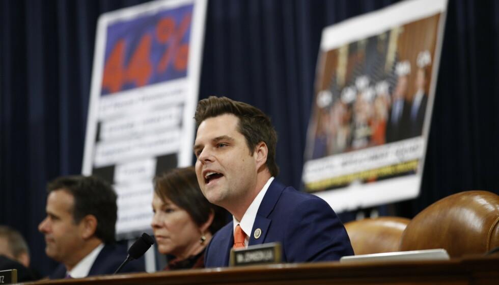 Republikaneren Matt Gaetz på jobb som kongressmann. Han er den siste tiden blitt anklaget for seksuallovbrudd. Foto: Patrick Semansky/AP/NTB