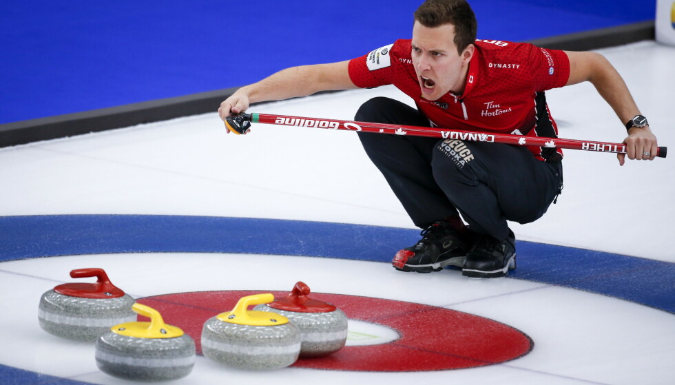 Canadas skip Brendan Bottcher maktet ikke å ta sitt lag til semifinalen på egen hjemmeis i Calgary. Foto: Jeff McIntosh / AP / NTB.