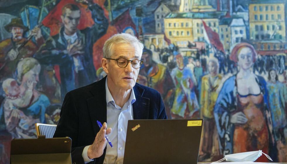 Partileder Jonas Gahr Støre holdt tirsdag en digital pressekonferanse i forkant av Arbeiderpartiets landsmøte. Foto: Ole Berg-Rusten / NTB