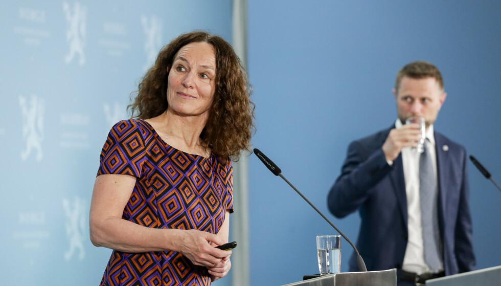 FHI-direktør Camilla Stoltenberg og helse- og omsorgsminister Bent Høie under pressekonferanse tidligere denne uka. Foto: Berit Roald / NTB