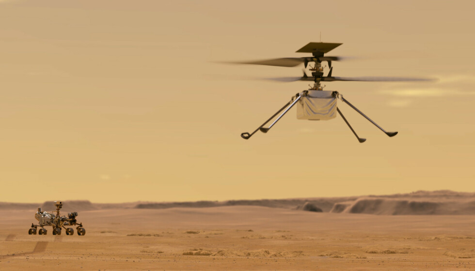 Mandag fikk Nasa bekreftet at den første planlagte flyturen på Mars var vellykket. Illustrasjon: Nasa/JPL-Caltech / AP / NTB